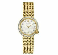 Bulova Quartz Diamond Accent Mother Of Pearl Dial Gold Tone Ladies Watch 98R218