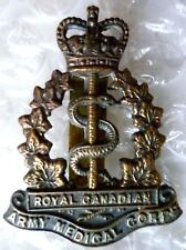 Badge- VINTAGE Royal Canadian Army Medical Corps Cap Badge QC (Cast BRASS, Org*)