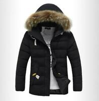 Winter Furry Mens Quilted Jackets Hooded Fur Collar Thicken Coat Outwear Puffer