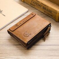 Men RFID BLOCKING Real Distressed Leather Zipper Wallet Holder Coin Purse Brown
