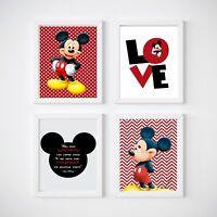 Mickey Mouse Nursery Print, Kids Wall Decor,  A4 or A5 Size Prints