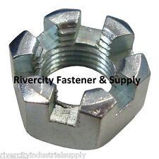 (1) 7/16-20 Slotted Hex Castle Nut Zinc Plated 7/16 x 20 Fine Thread (One nut)