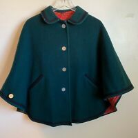 Vtg Wool Cape Cloak Green Lined Womens German Poncho 1960's Cosplay Prop Theater