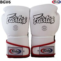 FAIRTEX BGV6 MUAY THAI KICK BOXING GLOVES WHITE BLACK RED ANGULAR SPARRING MMA