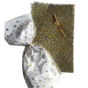 Gold / Silver Star Pattern Cellophane Cello Party Gift Sweet Bags With Twist Tie