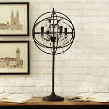 French Provincial Rust Iron Sphere Bedside Table Desk Cafe Lamp