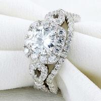 Newshe Wedding Engagement Ring Bridal Set 2Ct 925 Sterling Silver Halo Round Cz