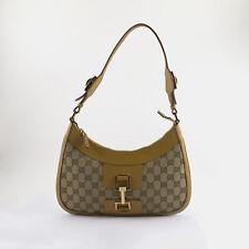 Gucci Jackie Shoulder Bag GG Beige Canvas Tan Leather Trim