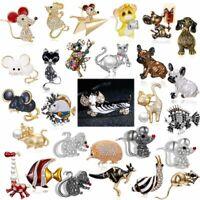Rhinestone Dachshund Dog Enamel Brooch Pin Fashion Jewelry Women