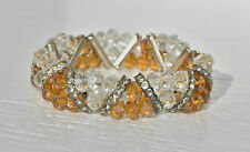 "NWT Rhinestone Amber Clear Faceted Glass Bead Bracelet Stretch - 3/4"" W"