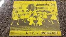 AIC vs Springfield AIC Park Football 1962 Vintage Program J42770