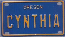 CYNTHIA Blue Oregon - Mini License Plate - Name Tag - Bicycle Plate!