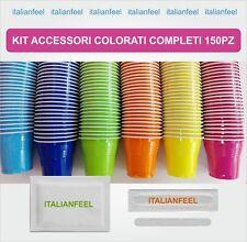 150 PZ KIT ACCESSORI CAFFE COLORATI  COMPLETI SIMILE AL KIT BORBONE 1 X 150 :)