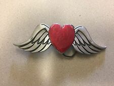 Great American Pure Pewter Red Heart Belt Buckle with Angel Wings New