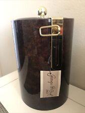 New listing Georges Briard Tall 11� brown Vinyl Ice Bucket Swing Top Nice