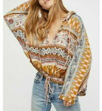 8101 New Free People Hold On Tight Gauze Cotton Pullover Hoodie Blouse Top XS S