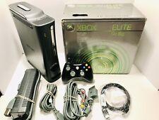 Clean Microsoft Xbox 360 Elite 120GB Game System Console Bundle Black With Box!