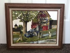 H Hargrove Oil Painting Signed Original Farm Truck Lighthouse Armour Family Soap