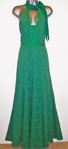 Damsel in a Dress Green Lace Halter Neck Tie Maxi Evening Occasion Dress Size 10