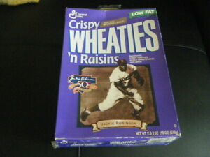 JACKIE ROBINSON 50TH CRISPY WHEATIES N RAISINS BOX SOME TAPE WILL SHIP FLAT