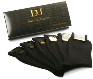 6 Pairs Men's Black Mid-Calf Smooth Socks 100% Cotton in Gift Box Made in Italy