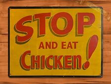 "TIN-UPS TIN SIGN ""Stop And Eat Chicken"" Restaurant Rustic Wall Decor"