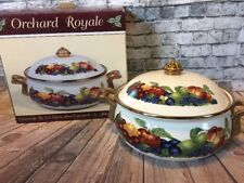 New! Orchard Royale 2.5 Qt Covered Casserole Dish Oven Table Potcelain On Steel