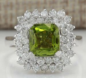 3.40 Carat Natural Peridot 14K White Gold Diamond Ring