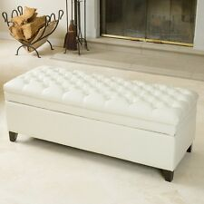 Luxurious Tufted Ivory Leather Storage Ottoman Bench