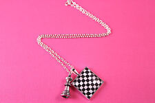 FUNKY CHESS BOARD NECKLACE CUTE KITSCH UNIQUE VINTAGE GAME KING QUEEN GIFT EMO