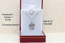 Bijou à offrir pour femme pendentif Coeur percé en argent massif 925 avec chaine