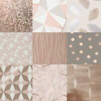 Fabulous Range Of Rose Gold Assorted 10m Wallpaper Geometic Apex Floral