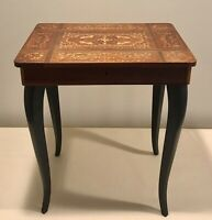 Vintage Italian Inlaid Marquetry Wood Music Box Jewelry Sewing Side Table - Used