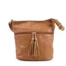 Women's Designer made Bucket Style faux leather tote Shoulder Bag with tassel