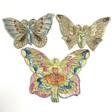 Butterfly Fairy Embroidered Applique 3 Patches Ballet Dancer Vintage Boho Hippie