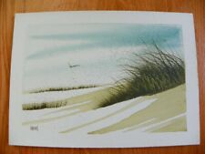 Original Fran Larsen Watercolor Painting, Sand Dunes / Seagrass, Signed