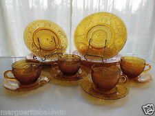 Tiara Indiana Glass Amber Sandwich Plates, 9 ounce Cups, & Saucers 16 piece Set