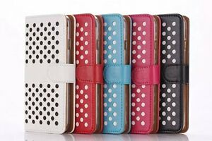 Polka Dot Domino Leather Flip Wallet Case Cover For Apple iPhone 6s Plus