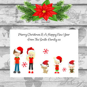 Personalised Christmas Cards x 10 Free Envelopes Family Friends 1