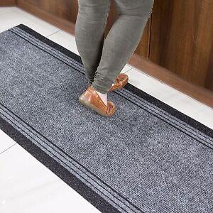 Heavy Duty Grey Rubber Backed Very Long Hallway Hall Runner Rugs Custom Length