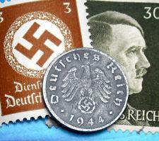 D-DAY 1944-G WW2 NAZI German 1 Reichspfennig SWASTIKA Coin & Hitler Stamp LOT
