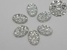 100 Clear Glitter Flatback Resin Oval Cabochon Pyramid Dotted Rhinestone 10X14mm