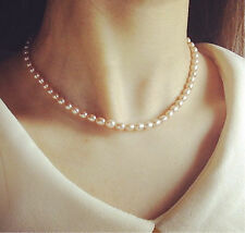 """6mm Natural Rice white Akoya Cultured Shell Glossy Elegant Pearl Necklace 17"""""""