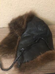 Leather Beaver Fur Trapper Hat Handmade In Alaska Fits 7 1/8- 7 1/4