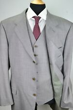 Canali Light Gray 100% Wool 3 Piece Suit Jacket Pants Vest Sz 50L Made in Italy