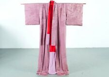 Striking Japanese Silk Kimono Komono Purple and Red -- Stunning -- Vintage