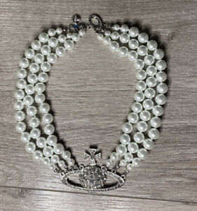 Vivienne Westwood Three Layer Silver Pearl Choker Necklace