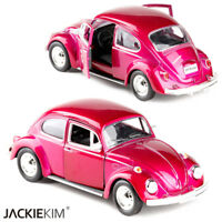 """Classic VW Beetle 1967 Open two doors Toys 5"""" Model Cars Rose Red Alloy Diecast"""
