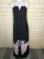 COOPER ST size 8 Maxi Dress strapless Floral gown black