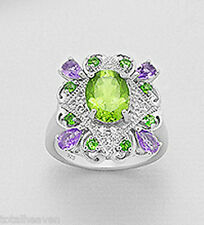 Solid Sterling Silver Peridot Amethyst Chrome Diopside Cocktail Ring size 9
